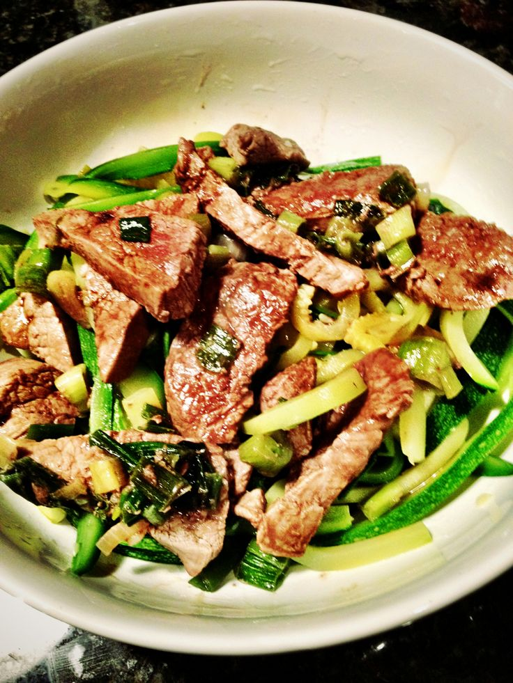 Fit Men Cook Flank steak with zucchini and green onions
