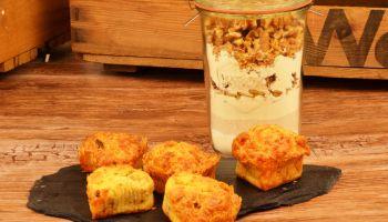 Herzhafte Walnuss-Käse-Zwiebel Muffins als Backmischung im Glas