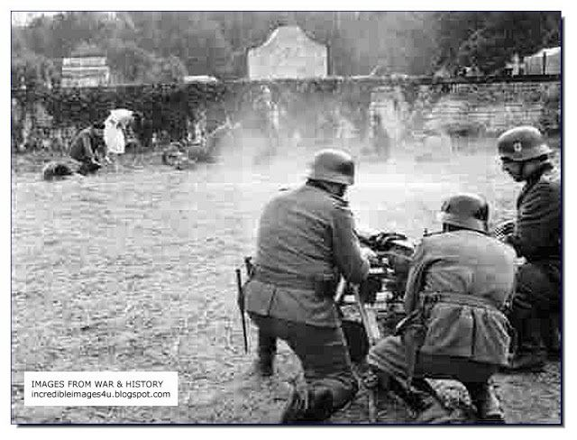 WW II: Shooting Jews in Kovno, 1942. When conducting executions by shooting, the Germans would use existing ravines, sand-pits, quarries or abandoned Russian anti-tank ditches. If no facility existed, the Germans would make the victims dig their own graves. The Einsatzgruppen were special SS mobile formations tasked with carrying out the mass murder of Jews, communists & others unfit to live by the Nazis.