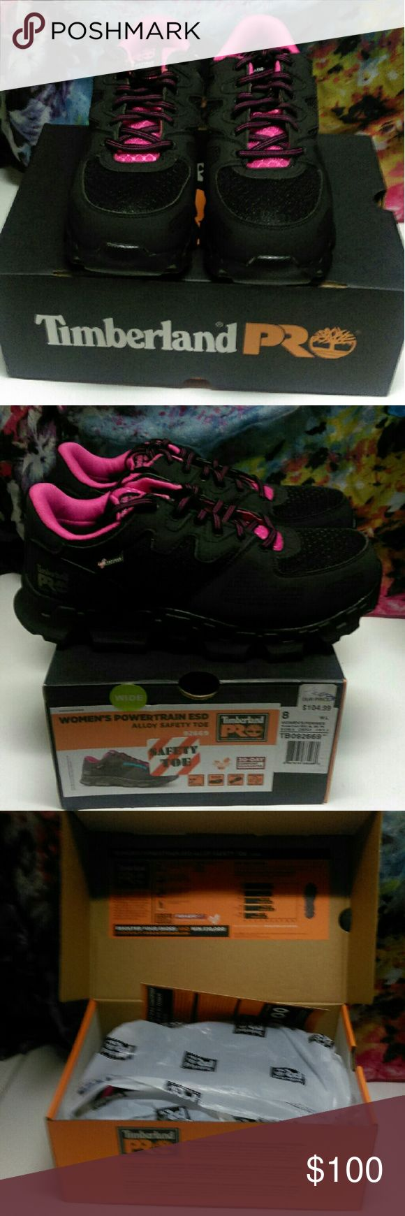 Timberland Pro Powertrain ESD W/ Alloy Safety Toe NWT and box. See photos. Timberlake Pro Powertrain ESD Safety Shoes w/ anti fatigue technology and Alloy Safety Toe. Slip, oil, and abrasion resistant. Antimicrobial for odor control. Black and pink. Size 8w. Timberland Shoes