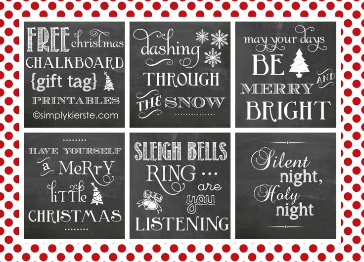 FREE chalkboard christmas printables collage