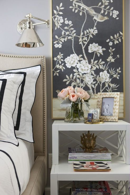 Love this chic tiered bedside table & framed fabric panels