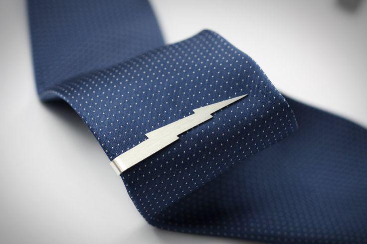 Lightning bolt tie clip // high quality handmade // sterling silver