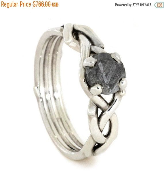 10% Off Sterling Silver Engagement Ring, Woven Ring Band with a Meteorite Center Stone, Unique Meteorite Engagement Ring