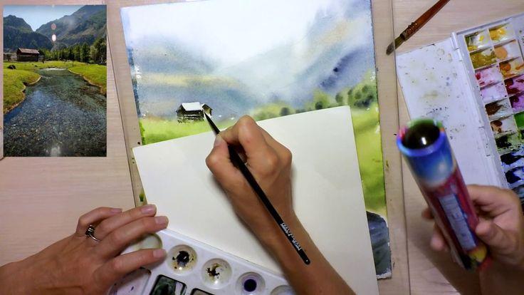 Картина акварелью. Пейзаж с рекой. Speed painting