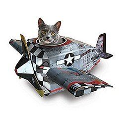 Your little tiger will have hours of fun playing in the cockpit of the Cat Playhouse Plane.  Made of cardboard, printed with nontoxic ink, with assembly diagram included.  Way more entertaining than a boring old paper bag!