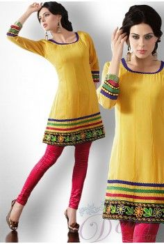 Yellow Georgette Designer Kurti