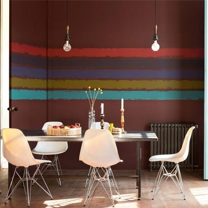 Dining Room Decorating Ideas Painted Stripe Wall In Click The Photo Or