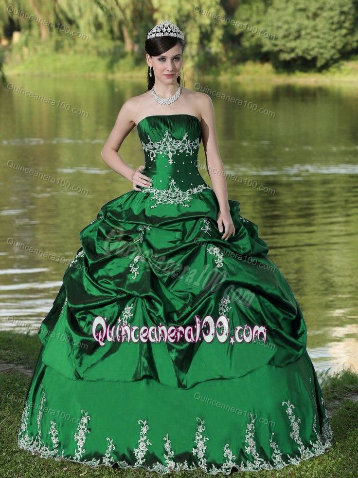 Custom Made Appliqued Green Sweet 15 Dresses with Pick Ups