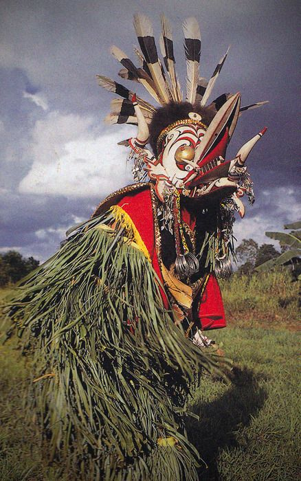 """the hudoq dance, Bahau Dayak - East Kalimantan, with huge and horrific carved masks. is performed at key points in the rice-growing to keep maleficent spirits from taking over the """"soul"""" of the rice."""