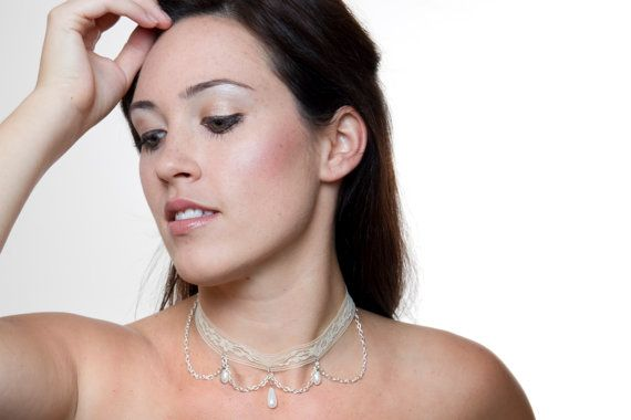 Ivory Lace and Teardrop Pearl Choker by DangerouslyDifferent, $25.00