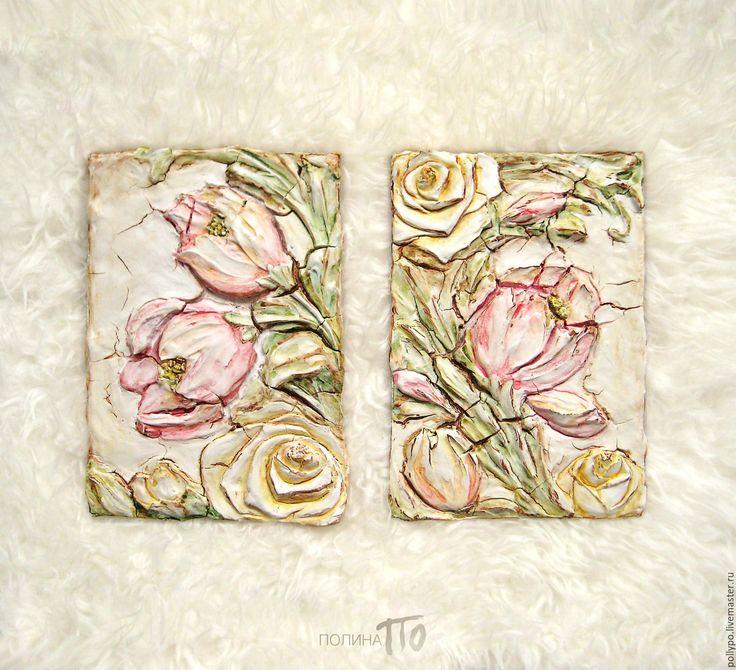 """Полина По. Авторские барельефы, рельефные панно. Купить Комплект рельефных панно """"Vintage Garden"""" - цветы, панно, шебби, шебби-шик, прованс. Polina Po. Low reliefs """"Vintage Garden"""""""