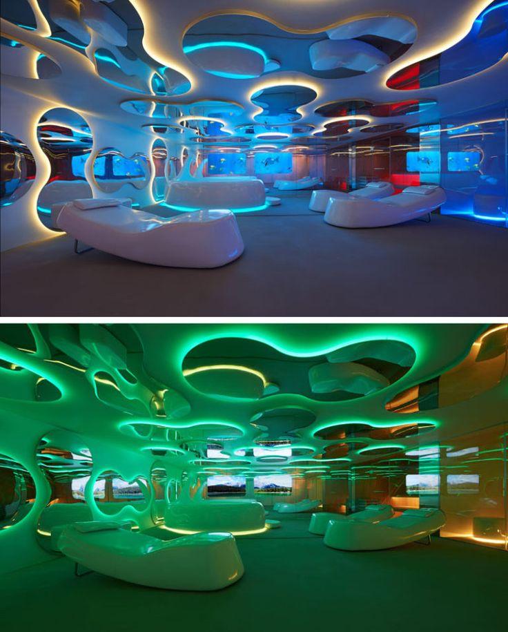 Дизайн интерьера спа салона: синяя и зелёная подсветка
