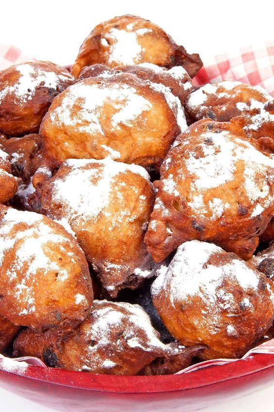 Fried Oliebollen (Dutch Doughnuts) Recipe with Raisins, Granny Smith Apple, Dried Currants, and Powdered Sugar