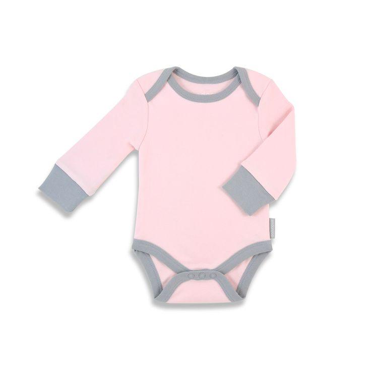 Endanzoo Onesie Long Sleeve Organic - Pink w/ grey