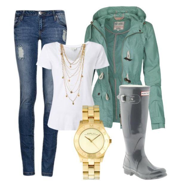 Rainy day outfit - love the mint coat!