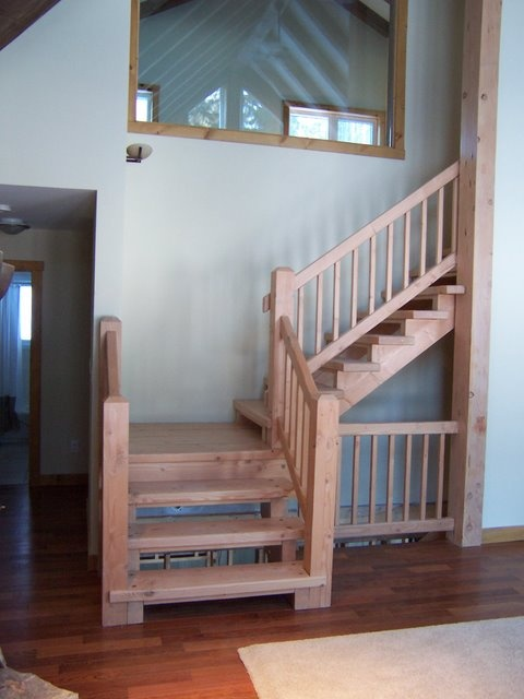 Best Douglas Fir Stairs In Open Concept Cottage Www 400 x 300