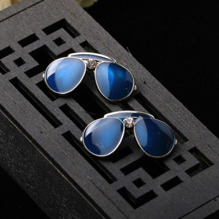 Mdiger Fashion Men Jewelry Blue Glasses Brooch Collar Pins