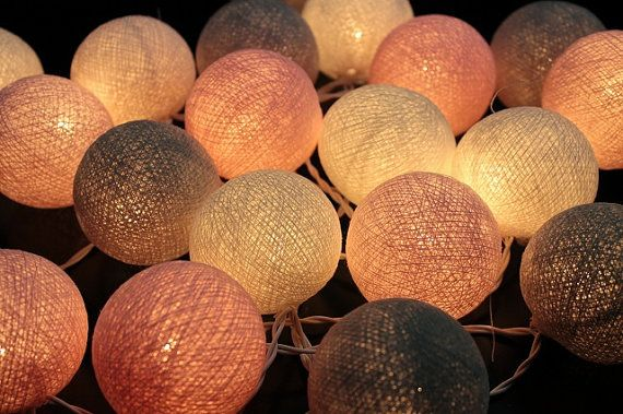 Pink Pastel  Cotton Ball String Light  Fairy Light Bedroom or Party on Etsy, $12.99