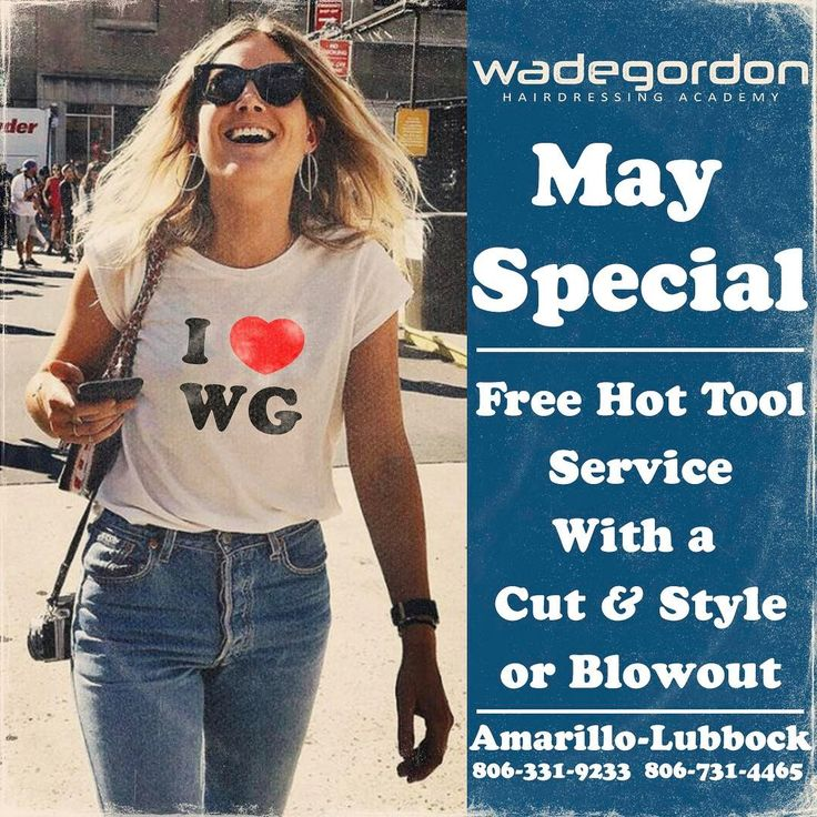 Wade Gordon Academy May Special: Free hot tool service with a cut and style or a blowout. Call today and schedule your appointment. 806-331-9233 - www.wadegordonacademy.com #hairschool #lubbock #alwayslearning #tigi #may #special #wghalife #cosmetology #cosmetologist #cosmetologyschool http://tipsrazzi.com/ipost/1506644755186208888/?code=BTorWwblFB4