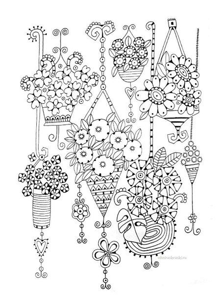 Flowering hanging baskets coloring page Adult Colouring