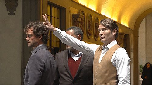 "existingcharactersdiehorribly: "" ""It was a bit like a school trip. "" Hugh Dancy, Laurence Fishburne, and Mads Mikkelsen, being Very Serious Actors in Florence. Hannibal on the Run feature, Hannibal S3"