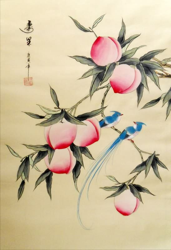 chinese painting of birds and peaches