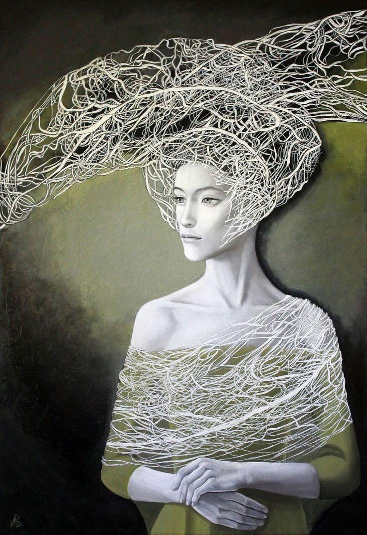 """Anna Rączka ,,Może tak , może nie"""" - olej na płótnie  100 x 70 cm Image"""