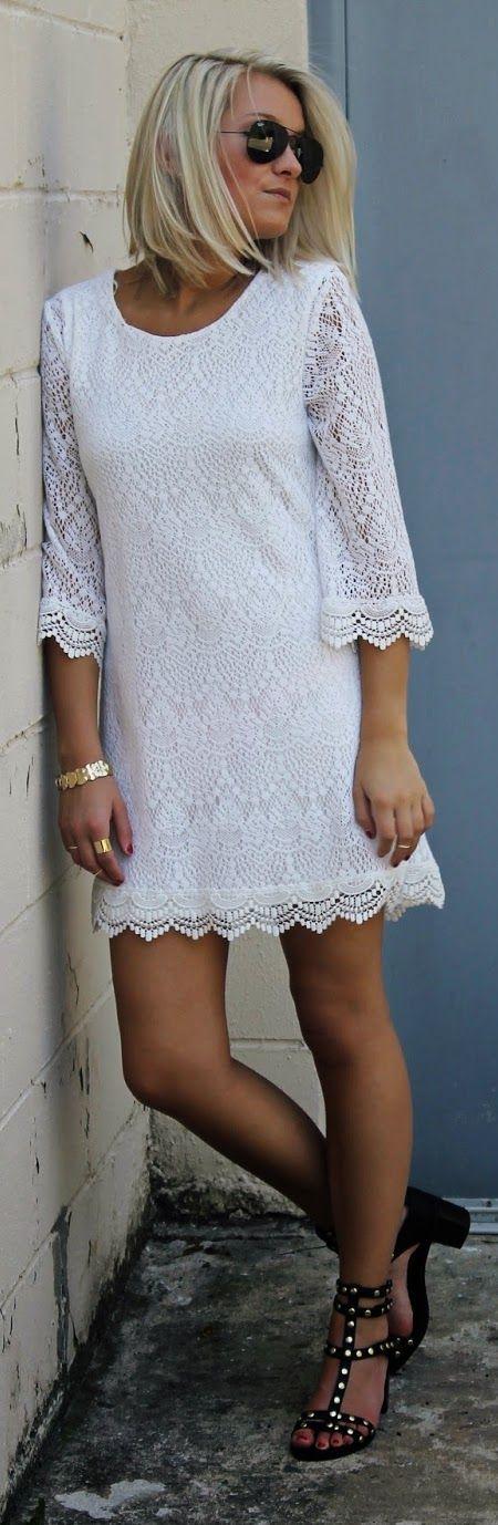 White Lace 3/4 Sleeve Shift Mini Dress