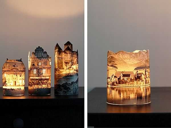 DIY-Handmade lanterns using pictures, or prints, and carefully cutting out the image, and some areas in the image for the light from a battery operated candle to shine through. You could use nature scenes,or family photos, or any picture you would like to display. Oh the possibilities.......lots of fun and nonstop creativity. Use on a mantle, or centerpiece for a table setting.