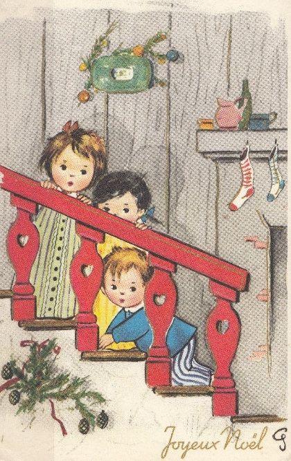 Sweet little kids peeking on Christmas morning