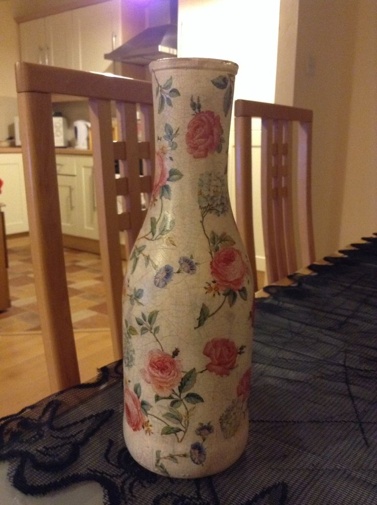 Old milk bottle, decoupage and craqueleure.