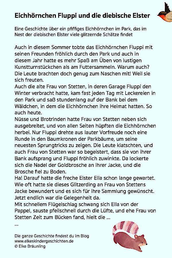 Eichhornchen Fluppi Und Die Diebische Elster Elkes Kindergeschichten Geschichten Fur Kinder Kindergeschichten Geschichten Fur Senioren