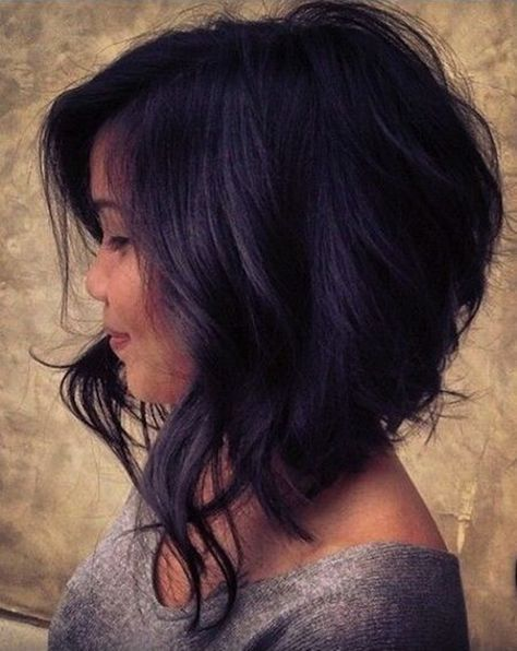 Medium soft wavy Asymmetrical Bob hairstyle for women