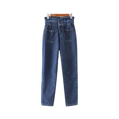 f2589be5ca Successg Pantaloni Donna Vintage A Vita Alta con Tasche in Denim E ...