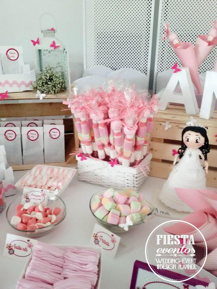 1000 ideas sobre adornos baby shower ni a en pinterest for Mesas dulces comunion nina