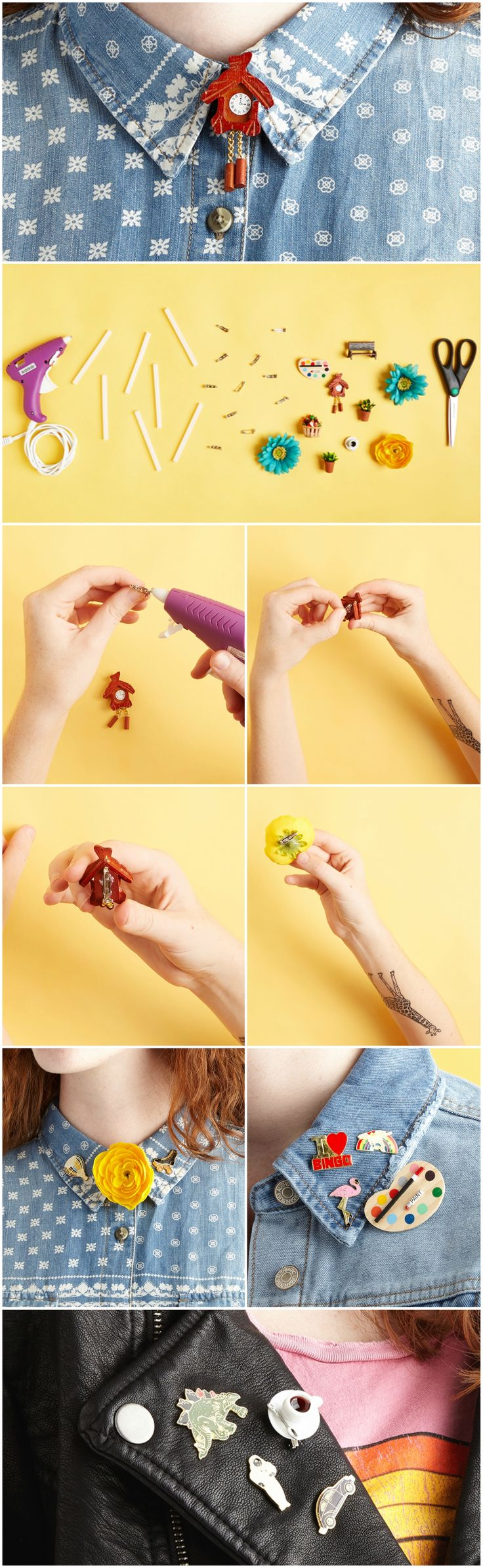 DIY these easy + adorbs brooch pins using dollhouse miniatures!