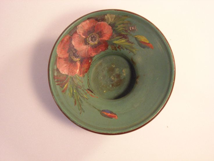bowl, shallow, hand painted flower motif