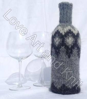 Ready to ship Icelandic wool lopi wine bottle cover bottle