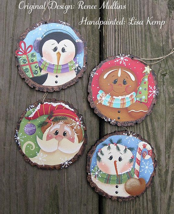 Rodaja madera imitación Santa ornamento