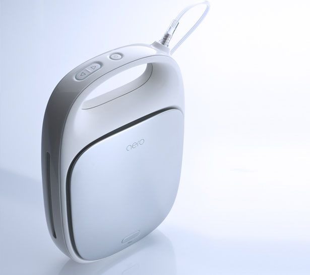 The oxygen concentrator Aero is designed primarily for mobile use. Aero Mobile Oxygen helps people with lung defects to supply their body with oxygen.