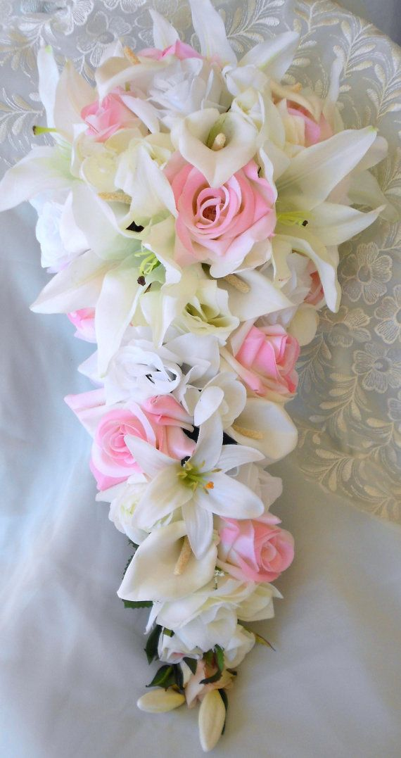 Silk Bride Cascade bouquet pink , ivory and white roses ...