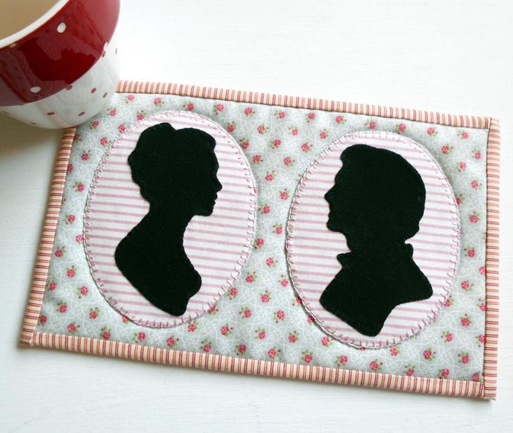 The Love Story Cameo mug rug was inspired by Jane Austen and her ability to share a good story.