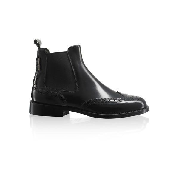 CADOGAN ❤ liked on Polyvore featuring shoes, boots, ankle booties, perrie, black, perrie edwards, shiny black boots, chelsea bootie, black brogue boots and black ankle booties