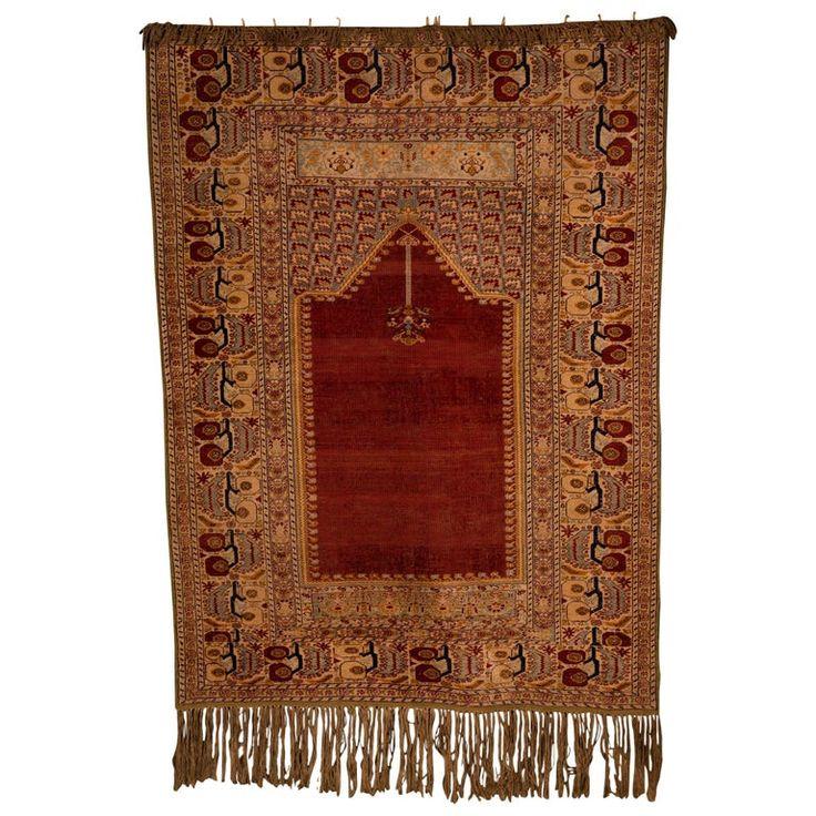 Beautiful Antique Silk Carpet, circa 1900