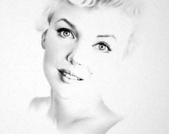 Marilyn Monroe Minimalismus Bleistift Zeichnung von IleanaHunter