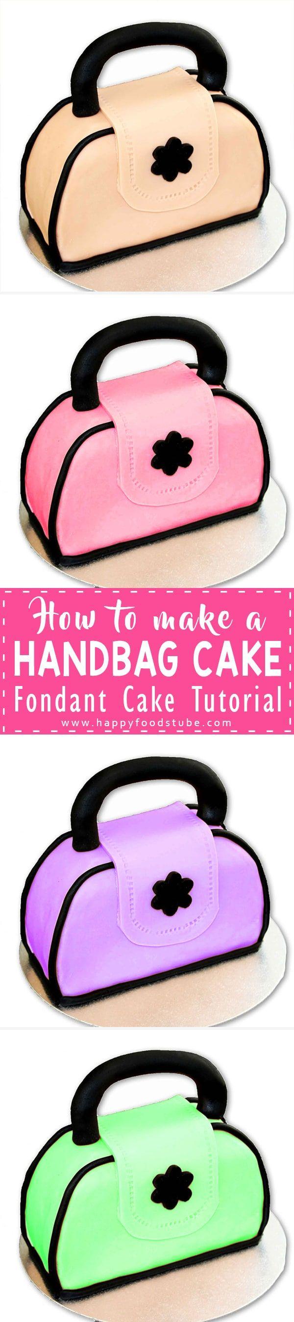 Learn how to make this fondant Handbag Cake. It's simple & easy to make. Great birthday cake idea for all ladies who love handbags. Fondant cake tutorial via @happyfoodstube