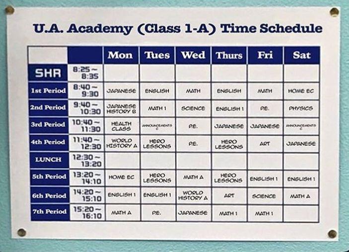 Bnha Class 1 A Schedule Japanese Math My Hero Academia My Hero