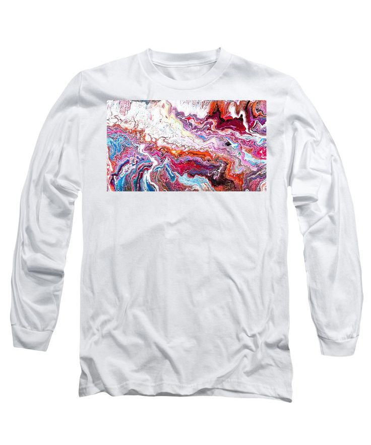 Original Artwork Painting Clouds Of Organic Looking Abstract Patterns Like Agate Feeling Of Movement Colorful Contemporary. Long Sleeve T-Shirt featuring the painting # 77 Long Pour by Expressionistart studio Priscilla Batzell