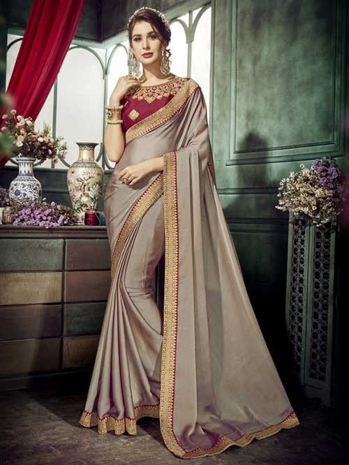 92729ff5e50d6c Beautiful Colored Chiffon Saree has Beautiful Border - Zohra | Visit Now :  www.grabandpack.com.|Free shipping only in India| Contact us/whats app us  on ...